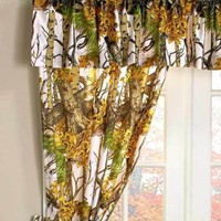 The Woods® 5-Pc.White Camouflage Window Curtain Set Bedroom Cabin Home Decor
