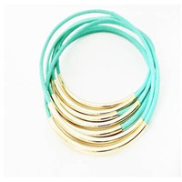 Mint Leather Bangle Bracelets with Gold or Silver Tube Accents
