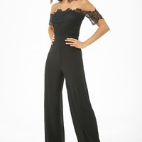 Crochet & Chiffon Off-the-Shoulder Jumpsuit