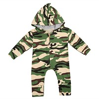 Toddler Baby Kids Boys Girls Camouflage Long Sleeve Romper Zipper Jumpsuit Cotton Outfit Sets