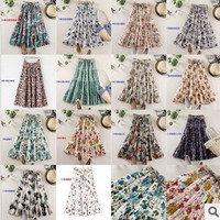 fashion women summer spring new fashion beach dress bohemian floral dress women long skirts floral skirt