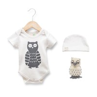 Estella Organic Cotton Baby Gift Set - Owl 0–3, 3–6, 6–12, 12–18M