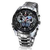 Fashion LED Wrist Watch with Blue light LED Display Sports Bracelet Men's Watches  (Color: Silver) = 1841739652