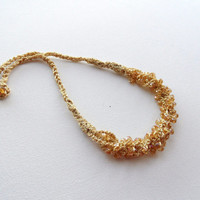 Crochet Necklace - Statement Necklace - Beaded Necklace - Shimmer Necklace - Multi Strand Necklace - Golden Necklace