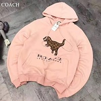 COACH New fashion letter dinosaur print couple long sleeve top sweater Pink