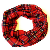 Silky Red Plaid Toddler Girls Infinity Scarf Tartan Plaid Young Girls Fall Scarf Babies Infinity Scarf Girls Fashion Accessories