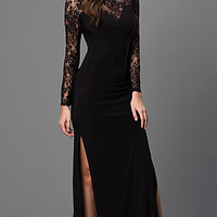 Long Sleeve Black Floor Length Dress with Lace