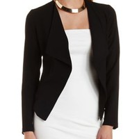 Black Long Sleeve Cascade Blazer by Charlotte Russe