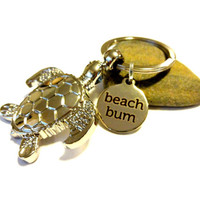 Beach Bum Sea Turtle Keychain, Silver Turtle Key Ring, Ocean Inspired Gift, Classy Key Ring, Gift Under 15, Babysitters Gift, Coworker Gift