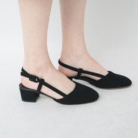 Round Toe Buckled Healed Pumps