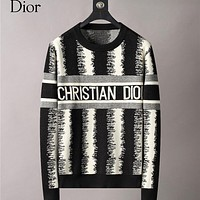 Dior jacquard letter long sleeve sweater