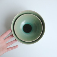 Ceramic nesting bowls in Mint Emerald Green Storage Home decor - Ready to ship