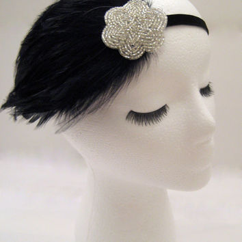 The Lucille - 1920s party headband, Gatsby headpiece feather, flapper hair piece, silver black deco, Old Hollywood style, Roaring Twenties