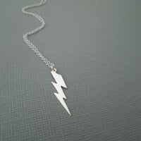 lightening bolt pendant, sterling silver simple jewelry, edgy, modern, everyday