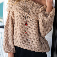Off-The-Shoulder Long Sleeve Cut Out Sweater