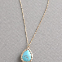 Geranium Gold Plated Necklace With Turquoise