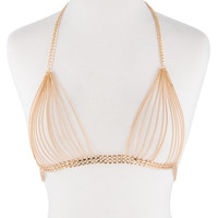 gold layered collar necklace bra body chain bikini swimsuit bathing suit