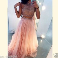 Sexy Long Halter Peach Tulle Two Piece Formal Prom Party Evening Dresses Custom