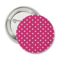 Cabaret Red Fuchsia And White Stars Pinback Buttons