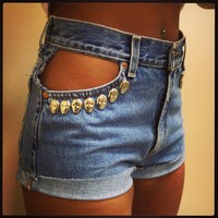 Vintage High-Waisted Shorts with Peek-A-Boo Pockets