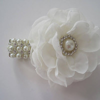 Wrist Corsage Ivory Chiffon Flower with New Style Pearl and Rhinestone Bracelet Bride Bridesmaid Mother of the Bride Prom  CUSTOM ORDER