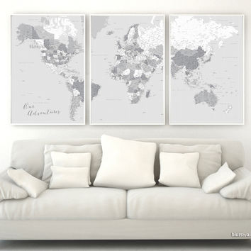 """Highly detailed word map poster set in grayscale, set of 3 split posters in 24x36"""" each, Our Adventures"""