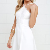 Pleats and Thanks Ivory Lace Skater Dress