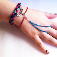 Pink and blue braided slave bracelet, braided bracelet, chain bracelet, blue bracelet, slave bracelet, gifts for her, BeadingByJenn,