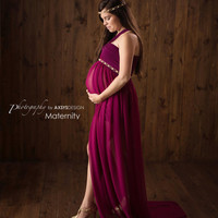 Maternity Gown, Photo Prop, jersey and chiffon Spiced Wine
