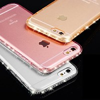 Clear Case for iphone 6S 6 Plus 5 5S Crystal Rhinestone Soft TPU Transparent Luxury Silicon for iphone 7 plus Cover Accessorie
