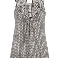 Embroidered Tank With Keyhole Back - Beige