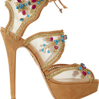 Charlotte Olympia - Arizona embellished mesh and suede sandals