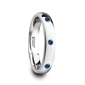 ALEX Polished Domed Tungsten Carbide Ring with Alexandrite Setting - 4mm