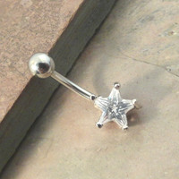Crystal Star Belly Button Jewelry Ring
