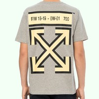 OFF-WHITE behind the yellow arrow slogan short-sleeved T-shirt