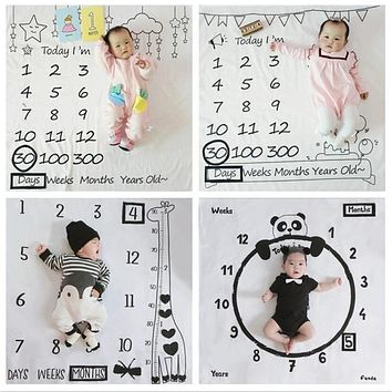 Infant Baby Milestone Photo Props Background Blankets Play Mats Backdrop Cloth Calendar Nordic photo props Accessories