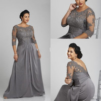 New Mother of the Bride Dress Gray Taffeta Applique Beaded Plus Size Vestidos De Festa Floor-Length Evening Prom Dresses L093