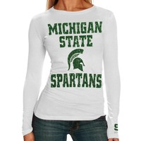 Michigan State Spartans Ladies White Distressed University Logo Long Sleeve T-shirt