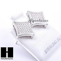 Sterling Silver .925 Lab Diamond 10mm Square Screw Back Earring SE011S