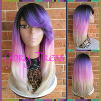 READY To SHIP // Ombre Purple & Pink wig,  Straight Full Wig With Layers,  Side Swoop Bangs // BEHOLD  (Free Shipping)
