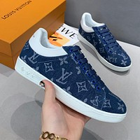 LV new tide brand women's canvas flat low-top sneakers shoes blue