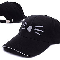 HEJIAXIN Dan and Phil Cat Whiskers Logo Adjustable Baseball Caps Unisex Snapback Embroidery Hats - Black/White