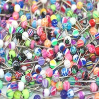 """Lot of 30 Assorted Surgical Steel Barbell Tongue Rings 14 Gauge or 1.6mm- Length 5/8"""" or 16mm"""