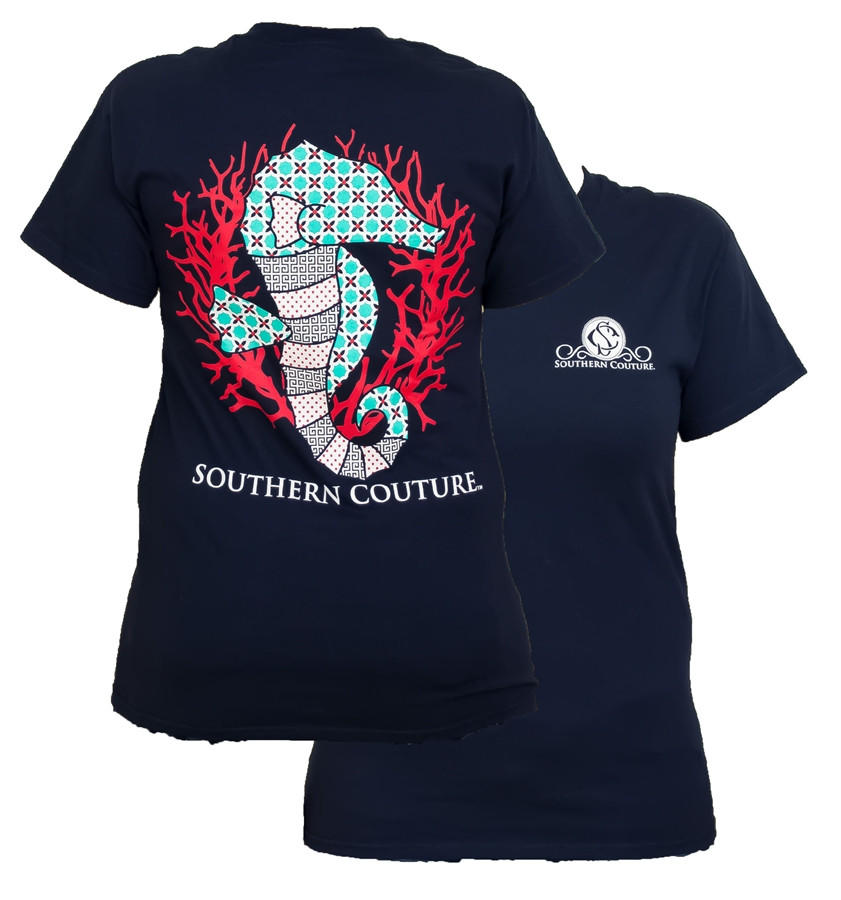 Image of Southern Couture Preppy Seahorse Pattern Navy Girlie Bright T Shirt