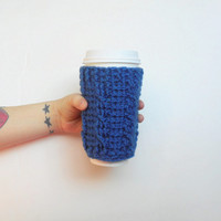 Crochet Cable Stitch Coffee Cozy in True Blue, ready to ship.