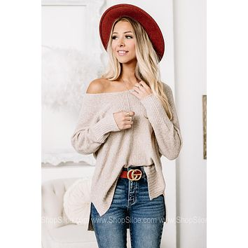 Let Them See You Soft Knit Oatmeal Top