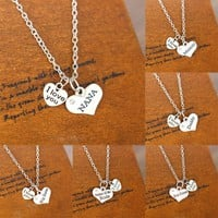 Heart I Love You Charm Family Party Wedding Silver Plated Daddy Mommy NANA Sis Sister Pendent Necklace Statement Jewelry Choker