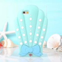 Mermaid SHELL PHONE 3D Case For Iphone 5 5s, 6, 6Plus Blue Sea Shells
