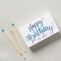 The Social Type Happy Birthday Matches in Silver Size: One Size Candles
