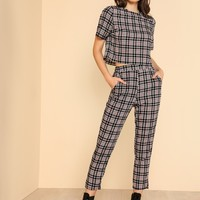 Plaid Crop Top & Elastic Waist Pants Set